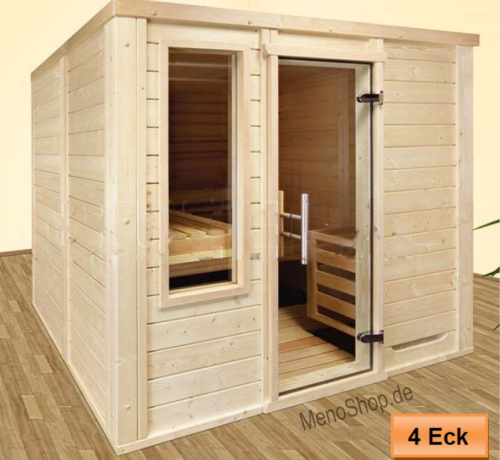 T166 x B150 Massivholzsauna Luxus 60 mm