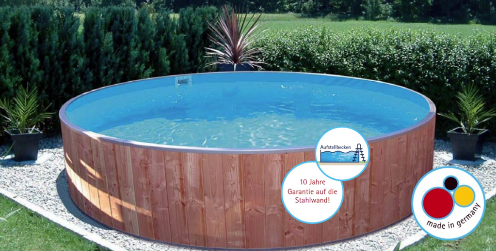 Fun wood rundbecken future pool spar set 1 wellness sauna for Pool mit stahlwand