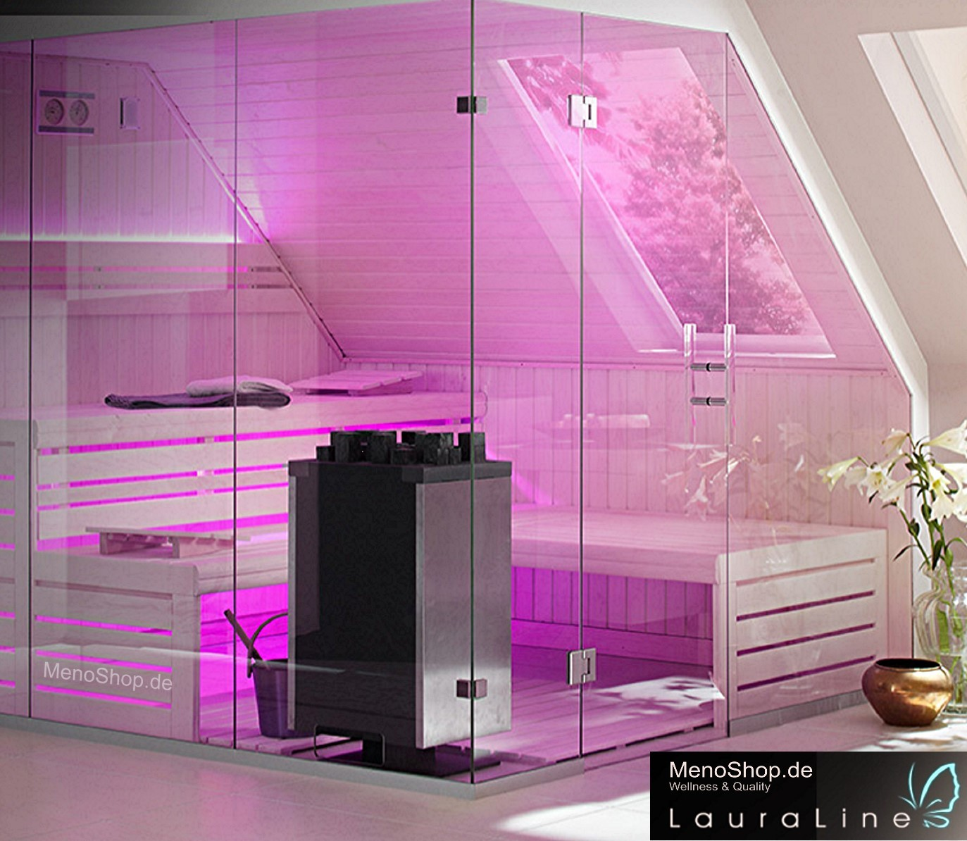 lauraline sauna design mit glas massivholzsauna oder. Black Bedroom Furniture Sets. Home Design Ideas