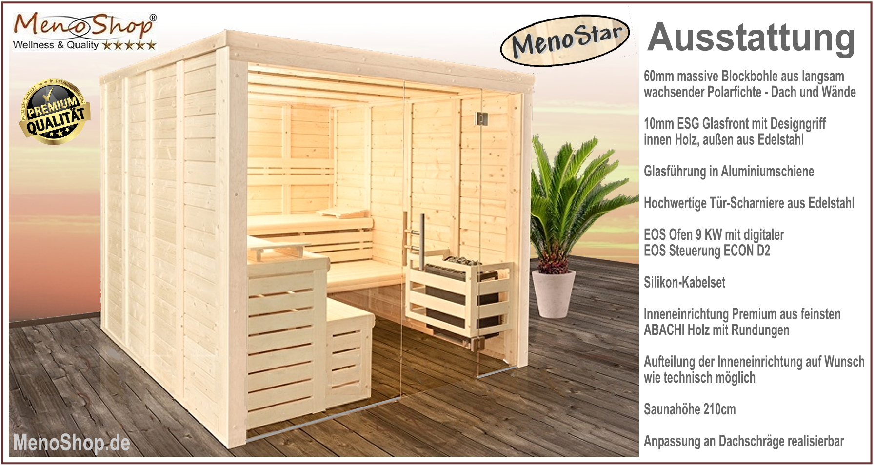 massivholzsauna meno star 60mm glasfront wellness sauna. Black Bedroom Furniture Sets. Home Design Ideas