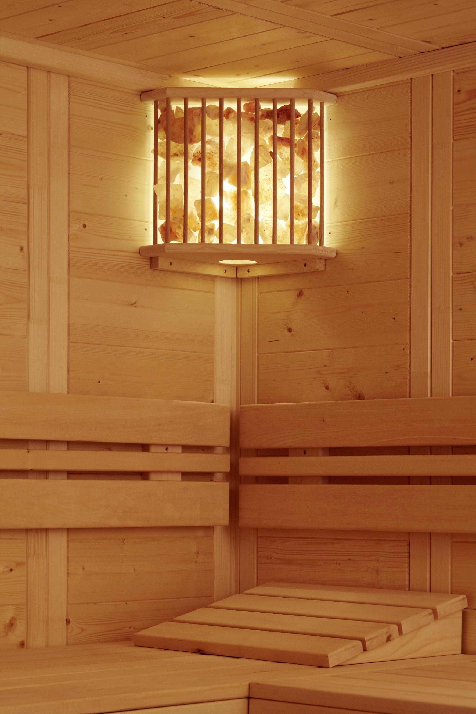 sauna salzkristallleuchte f r die ecke wellness sauna. Black Bedroom Furniture Sets. Home Design Ideas