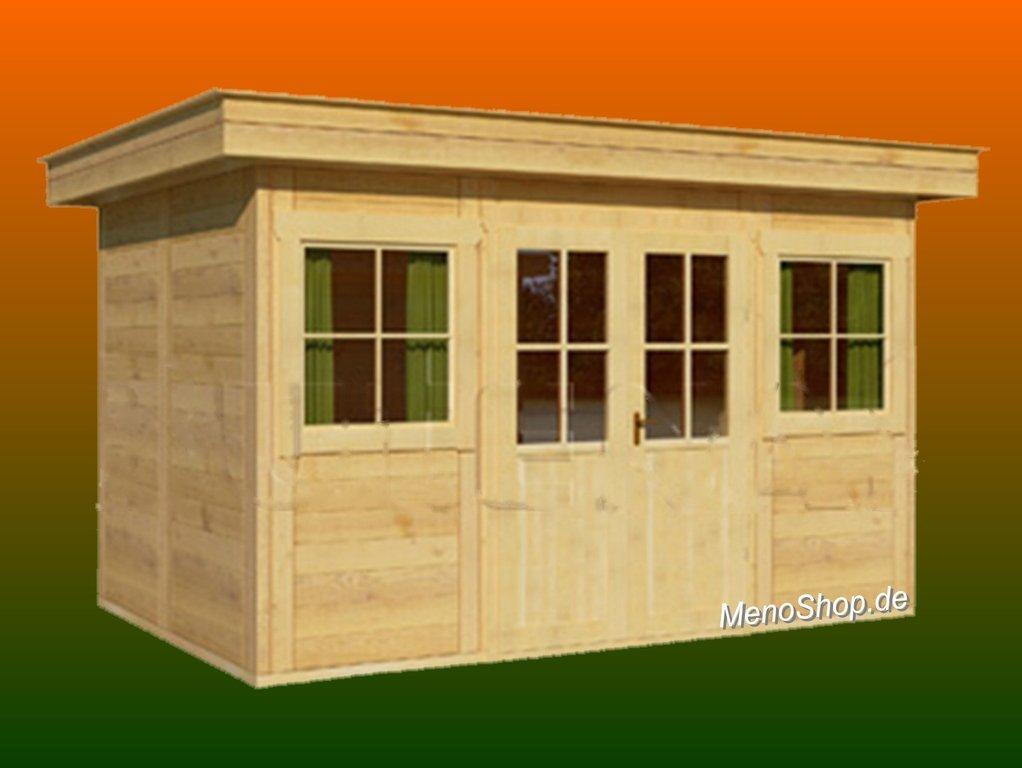Modernes Gartenhaus Meno Typ M8 mit Flachdach - WELLNESS & SAUNA