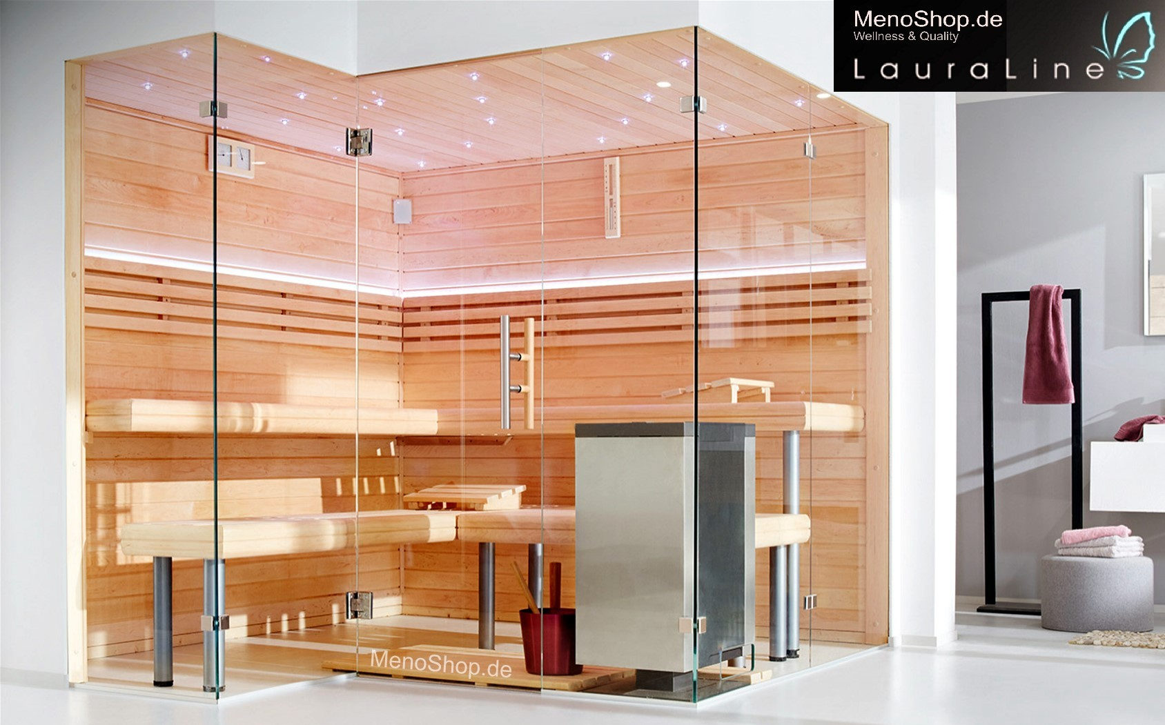 LauraLine® Sauna Design Glas Sauna - SAUNA & Glasfront