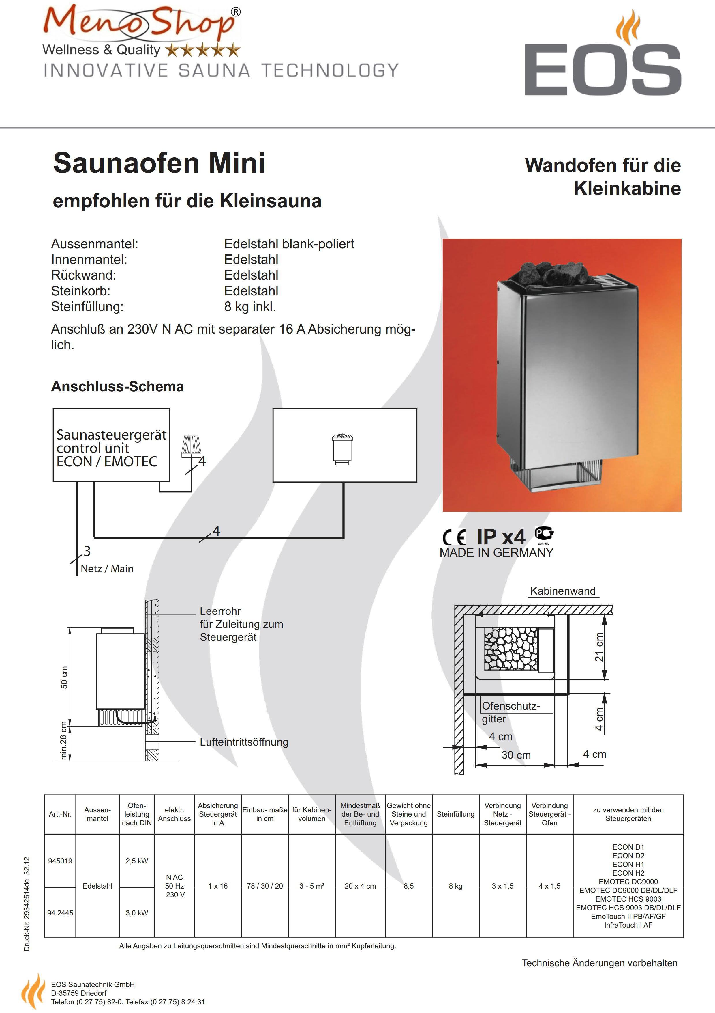 eos saunaofen mini 3kw 230 volt steckdose. Black Bedroom Furniture Sets. Home Design Ideas