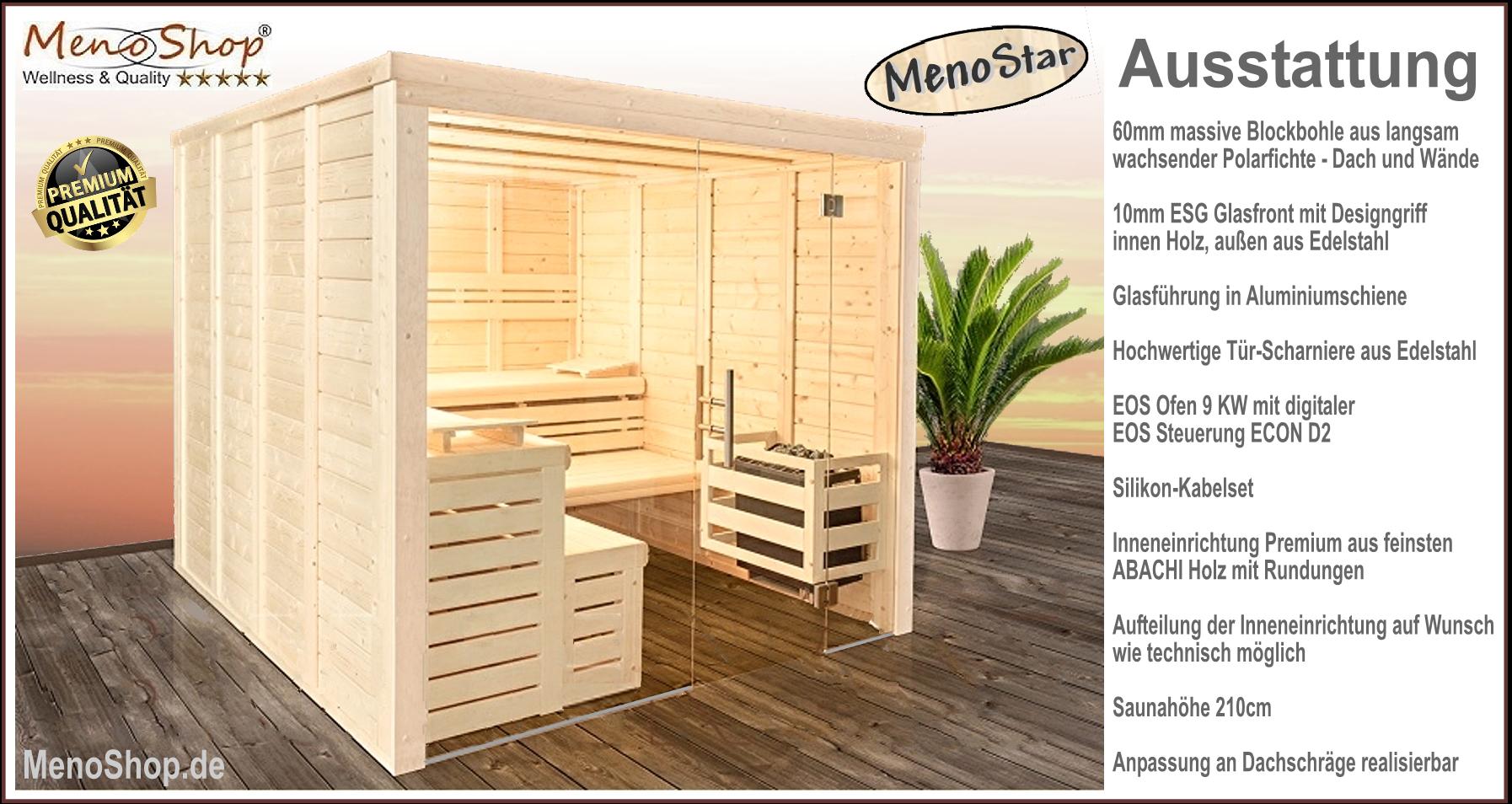 MASSIVHOLZSAUNA Meno-Star 60mm + Glasfront - WELLNESS & SAUNA