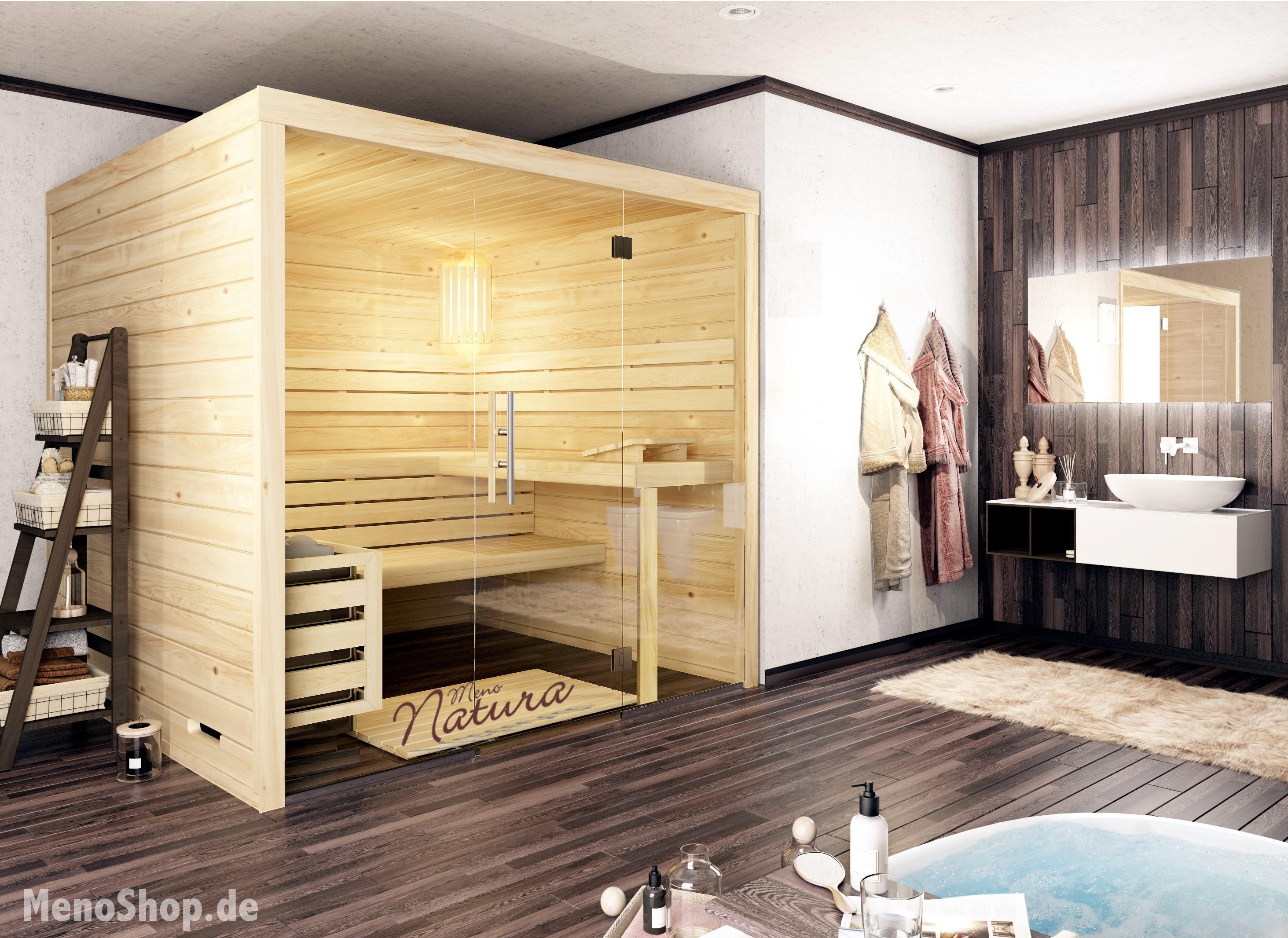 Massivholzsauna MenoTop Glasfront 2 - ANGEBOT Sauna 45mm